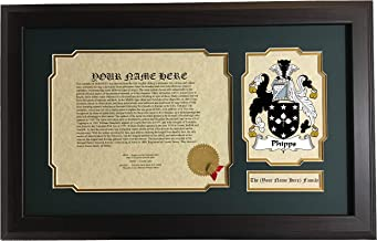 Phipps - Coat of Arms and Last Name History, 14x22 Inches Matted and Framed