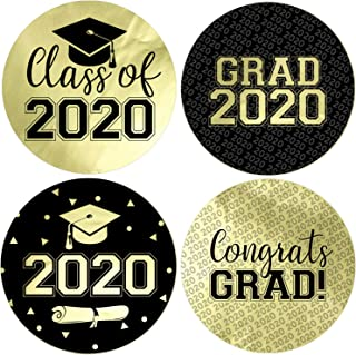 Class of 2020 Graduation Party Favor Labels, 1.75 in - 40 Stickers (Gold Foil)