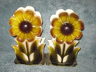 SET OF 2 - Vintage Acrylic Lucite Plastic Flower Large 7 x 4 Inch Napkin, Letter Holder or Book Ends