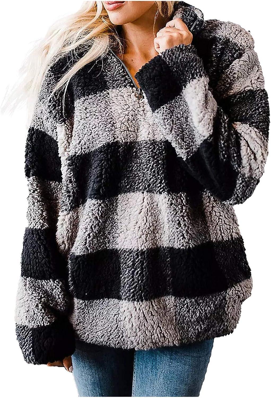 YAYUMI Women's Pocket Long Sleeve Plaid Stand Collar Cardigan Sweater Plush Coat Plush Comfortable Pocket Coat top