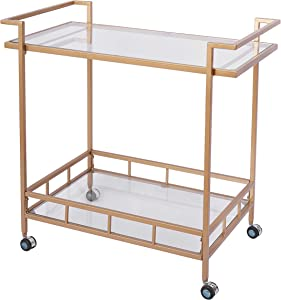 Bar Cart with 2 Glass Shelves, Durable Wine Cart with Casters, Suitable for Kitchen, Club, Living Room, Antique Gold Finish (30x17x31inch Gold)