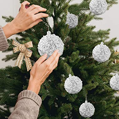 "4.25"" Christmas Ball Ornaments 4pc Set White Shatterproof Christmas Decorations Tree Balls forXmas Trees Wedding Party H"