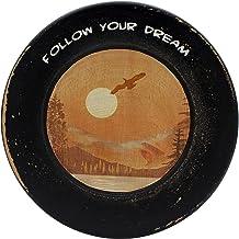"""CVHOMEDECO. Primitives Antique Wood Decorative Plate """"Follow Your Dream"""" Wooden Plate Home Décor Art, 10-3/4 Inch"""
