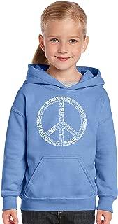 LA POP ART Girl's Word Art Hooded Sweatshirt - The Word Peace in 77 Languages