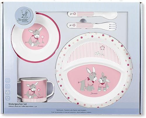 Sterntaler Service de Table Emmi Girl, Assiette, bol, cuillère, fourchette, Tasse, Âge : pour Bébés dès 6 mois, Rose