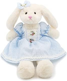 Oitscute Small Soft Stuffed Animal Bunny Rabbit Plush Toy for Baby Girls 15inch (White Rabbit Wearing Blue Retro Dress)