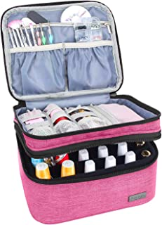 Luxja Nail Polish Carrying Case - Holds 20 Bottles (15ml - 0.5 fl.oz) or 30 Bottles (7ml - 0.27 fl.oz), Portable Organizer Bag for Nail Polish and Manicure Set, Pink