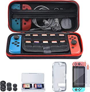 ESYWEN Switch Accessories Bundle, 5 in 1 Switch Accessory Storage Kit - Carry Case, Protective Case, Tempered Glass Screen Protectors, Game Card Case, Joy-Con Thumb Caps