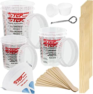 TCP GLOBAL Premium Paint Mixing Essentials Kit. Comes with 12 Mixing Cups, 6 Lids, 12 Wooden 12