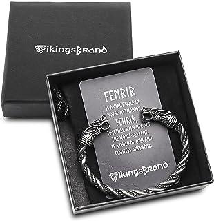 سوار فايكنغ للرجال من فايكنغس براند - مجوهرات باجان- سوار ذراع على شكل رأس ذئب الإله النورسي أودين