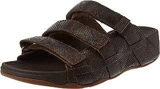 FITFLOP Ethan Croc Print Slides, Men's Fashion Sandals, Brown (Chocolate Brown)
