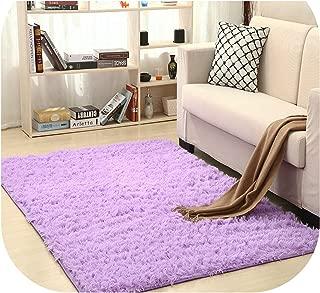 Super Soft Silk Wool Rug Indoor Modern Shag Area Rug Silky Rugs Bedroom Floor Mat Baby Nursery Rug Children Carpet,Lilac,80X120cm