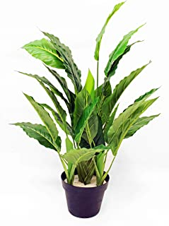 WPYST Artificial Peace Lily Leaf Natural Textured Potted Plant 30