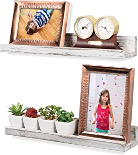 Rustic State Ted Wall Mount Narrow Picture Ledge Shelf Display | 17 Inch Floating Wooden Shelves Washed White Set of 2
