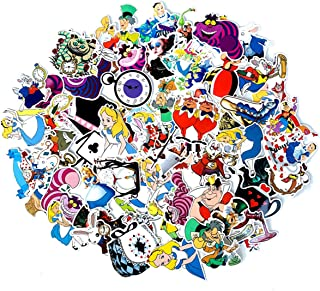 Alice in Wonderland Waterproof Stickers/Decals (70 pcs) of American Cartoon for Laptop Skateboard Snowboard Water Bottle Phone Car Bicycle Luggage Guitar Computer PS4(Alice)