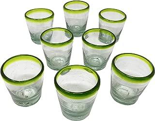 Vaso Veladora para Mezcal con Orilla Verdeの8個セットの緑色リムグラス。 メキシカン飲料用の伝統的なガラス。広い口で香りを手に入れましょう。 テキーラショットグラスとしても使えます。