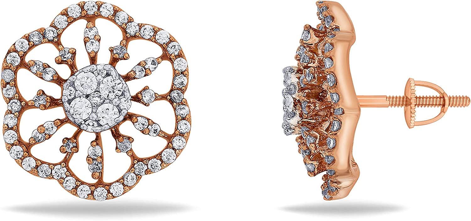 3djewels Women's 0.11Cts Round Simulated Diamond Eternal Bloom Earring 14K pink gold Plated