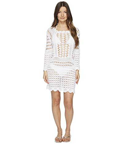 Letarte Crochet Long Sleeve Cover-Up (White) Women