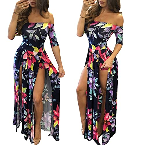 d52a8bf95a9 Romper Split Maxi Dress High Elasticity Floral Print Short Jumpsuit Overlay  Skirt for Summmer Party Beach
