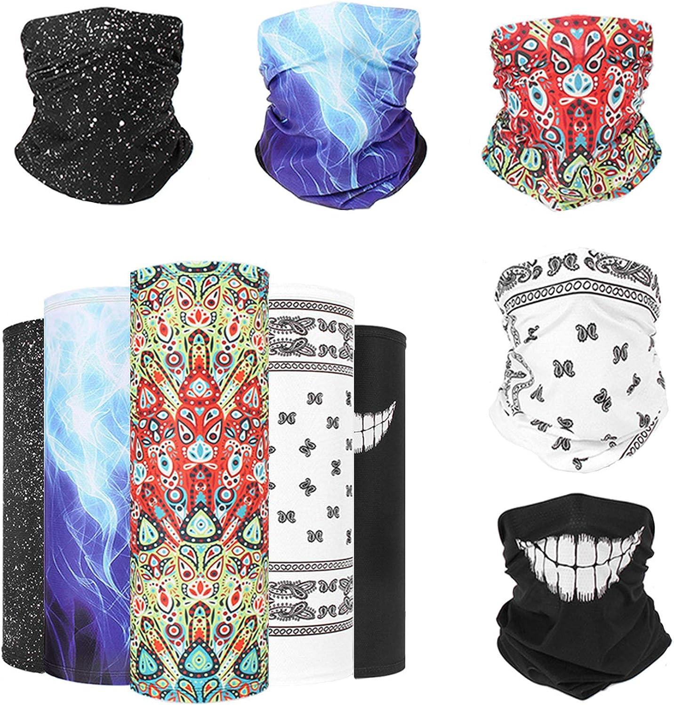 Magic Scarf Face Cover,5 Pack Bandana Multi-function Neck Gaiter Headwear Balaclavas Outdoor Cooling Elastic Headband