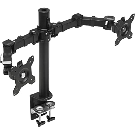 Amazon Basics Dual Monitor Stand - Height-Adjustable Arm Mount, Steel