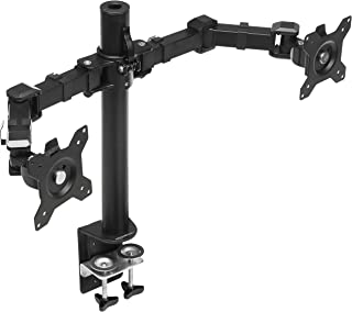 AmazonBasics Dubbele monitorstandaard met in hoogte verstelbare armsteun, 360 graden rotatie, verstelbare schermkanteling ...