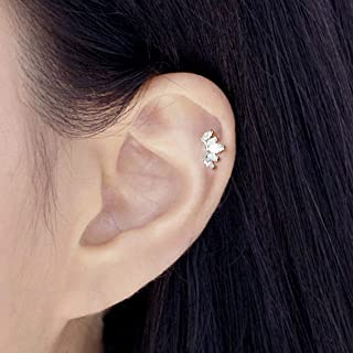 ONE PIECE 16g(1.2mm) Piercing Tiny Princess Crown CZ and Fire Opal Stud Earring Cartilage Labret Tragus Piercing Handcrafted In USA Nickel FREE Lead Free