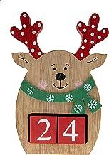 Count Down Reindeer Advent Calendar Blocks | Days Until Christmas| 100% Wood Build | Red & Brown Chubby Reindeer Decor | Measures 4