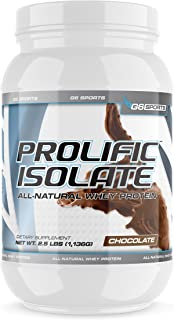 G6 Sports Nutrition Prolific Isolate All Natural Whey Protein Isolate (Gluten Free, Lactose Free, Soy Free, Stevia Sweeten...
