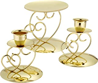 Darice Victoria Lynn Unity Candle Holder 3-Piece Set – Includes 2 Taper Candle Holders, 1 Pillar Candle Holder – Elegant Open Combined Hearts Design – Perfect for Wedding Ceremony, Gold