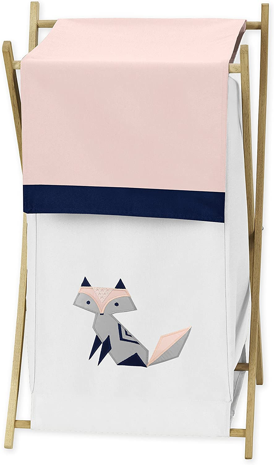 Sweet Jojo Designs Navy bluee, Pink, and Grey Baby Kid Clothes Laundry Hamper for Woodland Fox Collection by