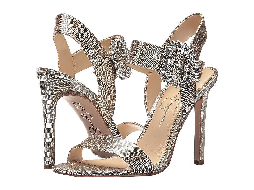Jessica Simpson Bindy (Shimmer Silver Metallic Shine Fabric) Women