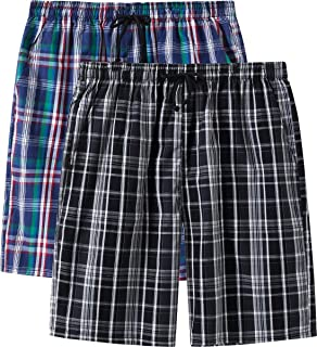 Men's Pajama Shorts Cotton Sleep Short Pockets Sleep Bottoms Plaid Lounge Shorts