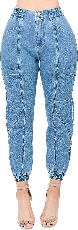 Fashion2Love Women's Juniors/Plus Size Elastic High Waist Denim Joggers Pants (3815)