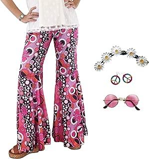 60's Peace Sign Hippie Bell Bottom Costume for Women Pants Headband Earrings Glasses