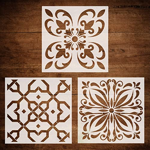 12x12 Inch Large Size Laser Cut Resuable Stencils for Floor Furniture Painting DIY Art Home Decor CODOHI 6 Packs Mandala Wall Tiles Stencils
