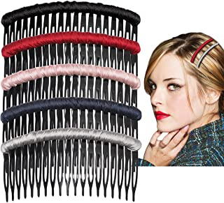 Hair Side Combs for Women Girls Satin Hair Side Combs Clips Plastic Teeth Side Hair Combs Pin Fashion Headwear Headdress H...