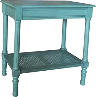 Urbanest Jamestown Side Table with Rattan Shelf, Teal