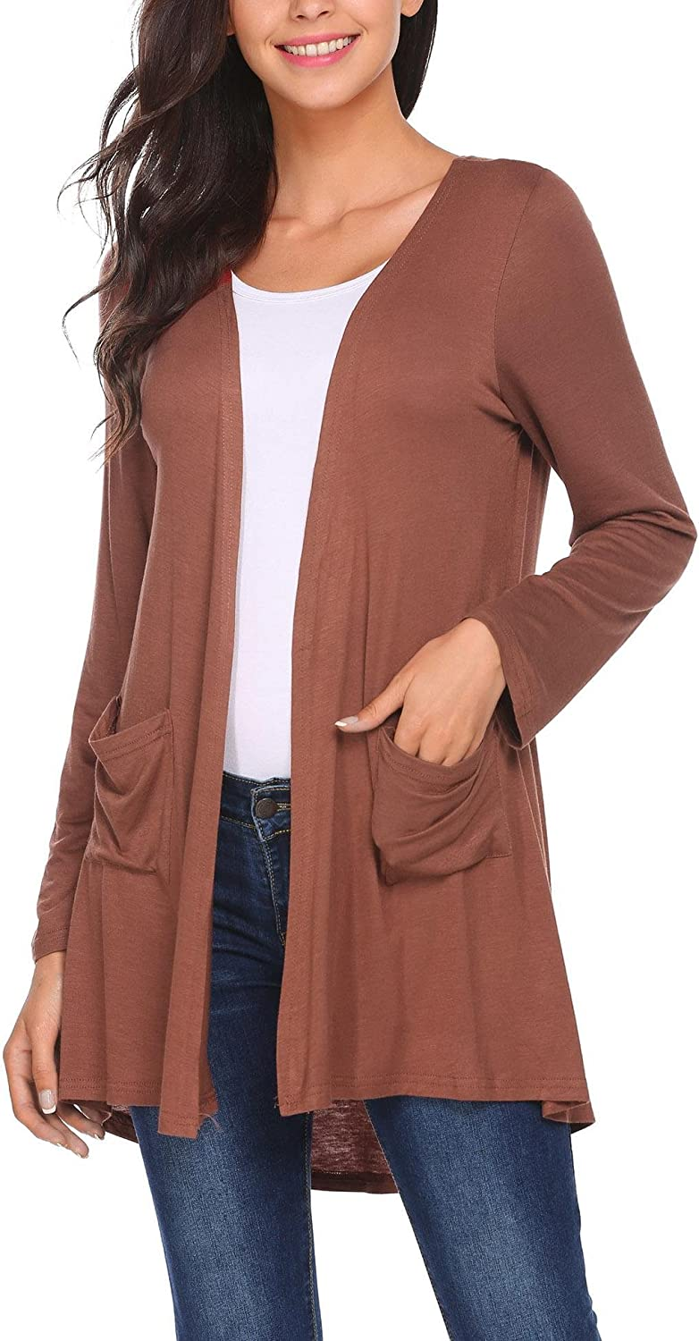 Easther Women Long Sleeve Open Front Light Weight Casual Soft Drape Cardigan