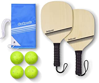 GoSports Pickleball Beginner Set Bundle - Includes Two Wood Paddles, Four Official Pickle Balls & Carrying Tote Bag