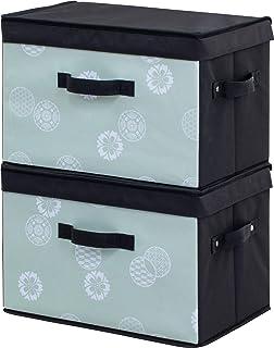 アストロ 収納ボックス 2個組 和モダン柄 グリーン×ブラック 丈夫なMDF使用 カラーボックス対応 積み重ね可能 613-29