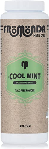 Fromonda (Cool Mint) Body Powder Spearmint & Tea Tree (5 oz, 1-Pack) Unisex, Talc-Free, Anti-Chafing, Sweat Defense w...