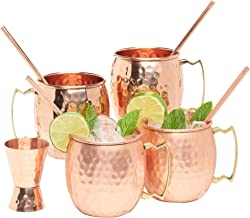 Kitchen Science Moscow Mule Hammered Copper 16 Ounce Drinking Mug, Set of 4 (4) (4)