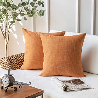 """Phantoscope Set of 2 Soft Textured Lined Linen Burlap Throw Pillow Cover, Polyester & Polyester Blend, Orange, 22"""" x 22"""""""