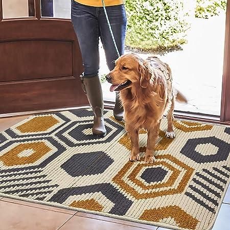 Color&Geometry Felpudo de Entrada, Interior Alfombra Antideslizante, Tapete para Puerta Lavable a Máquina, Absorbente para Pasillo, Cocina, Jardín, 60 x 90 cm, Beige