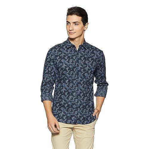 John Players Men's Printed Slim Fit Cotton Casual Shirt