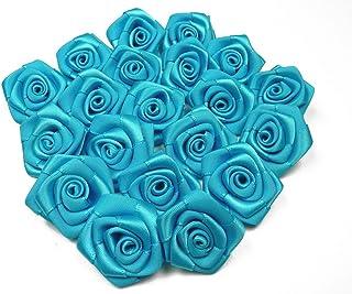 Butterfly Fleurs en Satin 3 cm de diametre Sachet de 10 Fleurs a Coudre ou a Coller Mariage Deco Scrapbooking (Bleu Turquo...