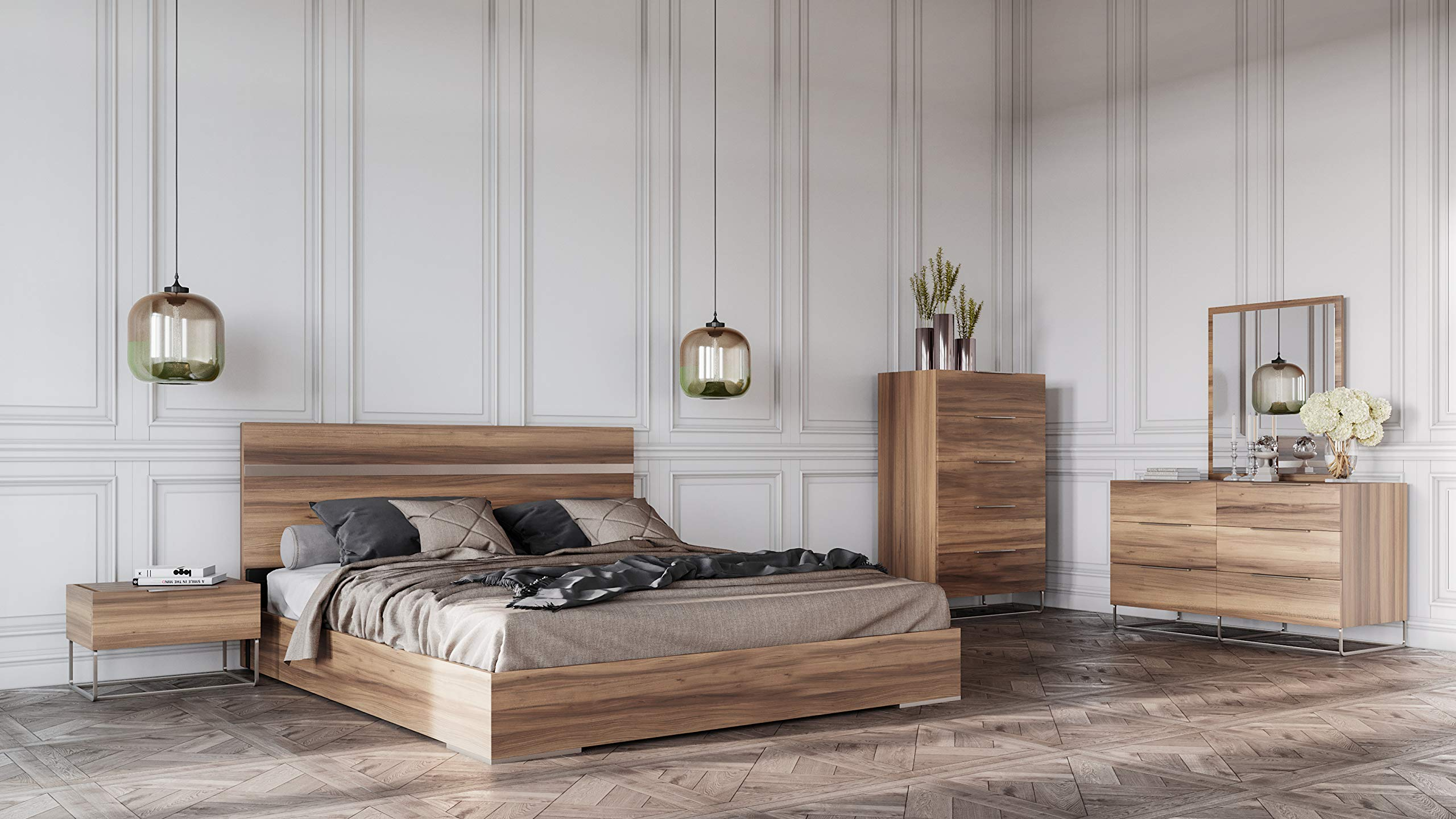 Mirror 5-Piece Bedroom Set Dresser Eastern King Walnut 2 Nightstands Limari Home Alonzo Collection Modern Style Italian Crafted Laminate Bed