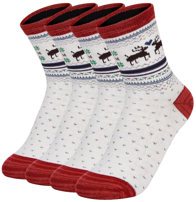 (ラボーグ)La Vogue クリスマス ソックスセット 靴下 レディース メンズ ミドル ルームソックス トナカイ 厚手 防寒 秋冬 お祝い プレゼント 4足組