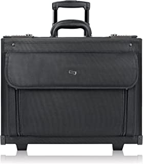 Solo New York Classic Rolling Padded Compartment That fits up to 17.3 inch Laptop, Equipped with Dual Combination Locks and Two Wheeled Hard Sided Catalog Case, Black